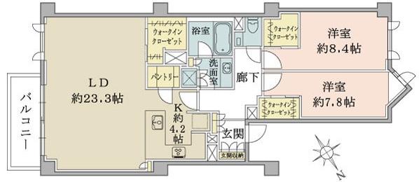 広尾ガーデンヒルズB棟4F_間取り図