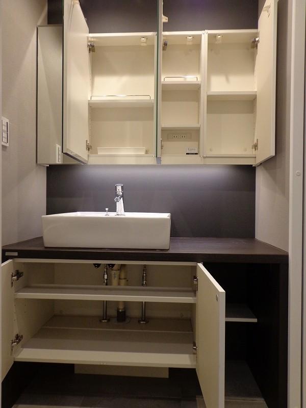 青山コーポラスの洗面化粧台の収納